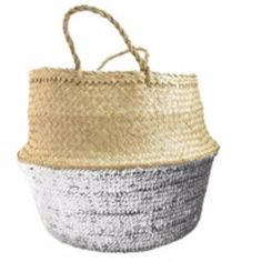 Small Sequin Basket: Beautiful and practical hand woven baskets with a bit of bling! These baskets are handwoven using ancient techniques by artisans. They are finished off with sequins on the bottom half making them truly special and look great filled with all manner of household items.