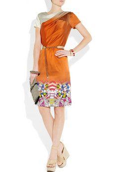 Etro, printed degrade stretch silk dress