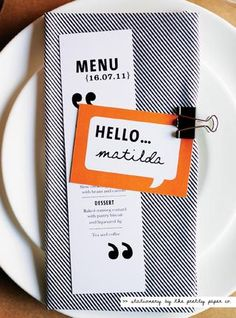 Holy moly this is cute! Could we say hello to everyone as their nameplace thingy?! Wedding Menu, Wedding Book, Wedding Stationary, Wedding Ideas, Wedding Programs, Fall Wedding, Diy Wedding, Wedding Reception, Wedding Card Messages