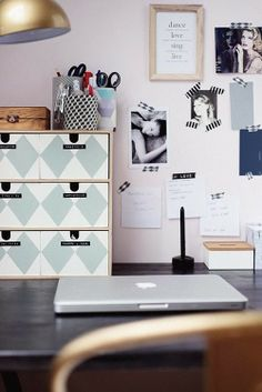 DIY self painted boxes for the desk