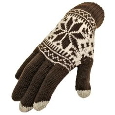 Finally, a glove that can keep you warm and still let you use your touch screen phone! The thumb and index finger on each glove features a special tip that enables your fingers to access any touch screen on any phone. These are made from a thick blended knit and feature a classic winter print. Plenty of stretch to ensure a proper and comfortable fit...