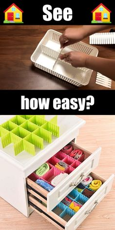 DIY drawer dividers for desk organization (+ tips and tricks)With just cardboard (smooth or patterned) you can make some pretty DIY drawer dividers in a few minutes that will tame your monster in the drawer. Diy Organizer, Office Organization At Work, Organization Ideas, Clutter Organization, Bedroom Organization, Organize Office Supplies, Organizing Ideas For Office, Office Ideas, Storage Ideas
