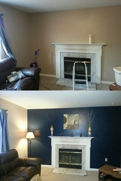 Our living room Before and After painting an accent wall. What a difference it made!