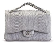 ec9ac85ff40981 Chanel Jumbo Double Flap Bag in Python $7,500 via Christie's Chanel Bags,  Hermes Bags,