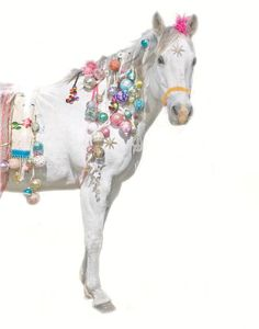 Why waste time and money buying  a Christmas tree when you can just decorate your horse? lol