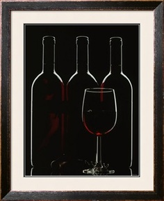 Silhouette of Three Red Wine Bottles and One Red Wine Glass Photographic Print by Walter Cimbal at Art.com