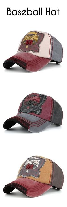 f0651ae8a31 Washed Sanding Nostalgic Letters Patchwork Baseball Hat