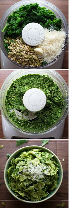 Kale, Pepita & Sunflower Seed Pesto - This delicious pesto 'remix' is packed with healthy kale, toasted pepitas and sunflower seeds.  Perfect on pasta, even better on pizza!