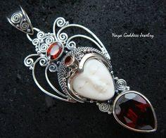 Sterling Silver Garnet Naya Goddess Pendant by NayaGoddessJewelry, $44.99