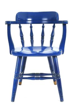Charmant Blue Wooden Windsor Captainu0027s Chair On Chairish.com