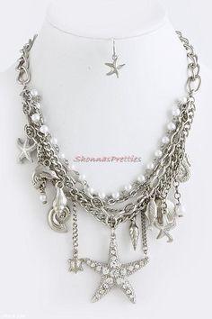 New Chic Silver Multi Chain Bib Necklace Big Starfish Beach Charm Shell Seahorse | eBay