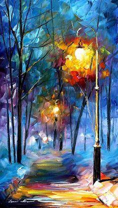 Winter Night Painting by Leonid Afremov - Winter Night Fine Art Prints ...