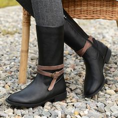 115.60$  Watch now - http://ali66p.worldwells.pw/go.php?t=32765587505 - Ladies big shoes 41-43 flat shoes leisure woman high boots round toe female winter boots snow retro handmade boots 115.60$