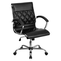 Offex Mid-Back Designer Black Leather Executive Office Chair with Chrome (Grey) Base [OF-GO-1297M-MID-BK-GG]