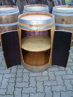 Great idea for a wall cabinet. A half barrel with doors for a base ...