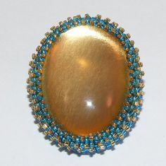 Gold Domed Cabochon Brooch Pin Aqua and Gold Seed by craftsbyJeri
