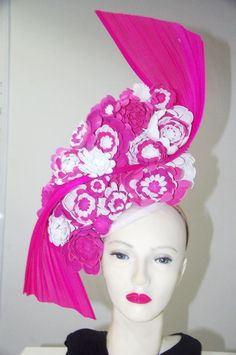 8a70a672eab Pink with pink white handmade flowers wow statement designer fascinators  original   used
