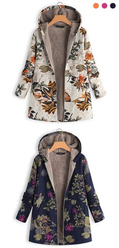 84efd75af2 Gracila Leaves Floral Print Hooded Long Sleeve Vintage Coats is hot sale on  Newchic