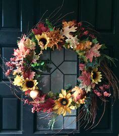 Fall Wreath, Autumn wreath, Fall door wreath, Thanksgiving wreath, outside wreath, Fall decoration, Fall decor - pinned by pin4etsy.com