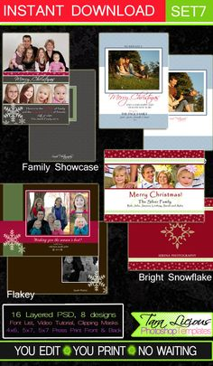 Holiday Photoshop Templates Layered Photoshop Templates Instant Download Chrismtas Cards Backs 4 Designs 16 PSD TaraLicious Set7 by TaraLiciousTemplates on Etsy