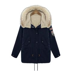 $50.63 Casual Hooded Applique Long Sleeve Padded Coat For Women