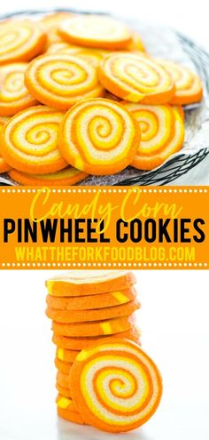 Slice and bake gluten free Candy Corn Pinwheel Cookies are the perfect make-ahead dessert for Halloween! While there's no actual candy corn in the cookies, the swirls of color are perfect for those who love the iconic color combination but hate candy corn. These cookies are cute, festive, easier to make than they look, and taste like Pillsbury sugar cookies! Gluten free cookie recipe from @whattheforkblog - visit whattheforkfoodblog.com for more gluten free baking and dessert recipes! Gluten Free Cookie Recipes, Gluten Free Cookies, Gluten Free Baking, No Bake Cookies, Pillsbury Sugar Cookies, Pinwheel Cookies, Orange Food Coloring, Make Ahead Desserts, Free Candy