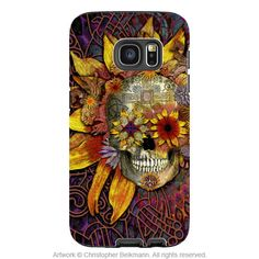 Botanical Sugar Skull Galaxy S7 EDGE Case - Origins Botaniskull - Floral Sugar Skull Samsung Galaxy S7 EDGE Tough Case