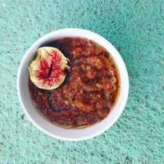 Spicy #Gazpacho #recipe, served with a fresh slice of #fig to cut through the heat with a bit of sweet.