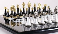 Black & White Wood And Metal Chess Set