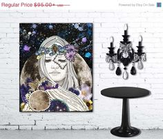 """Luna"" stretched canvas print by Jenndalyn Art #art #mixedmedia #collage #bohemian"