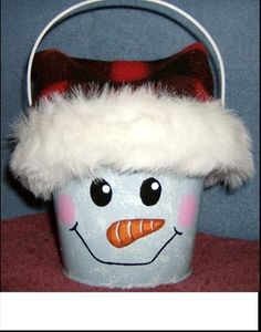Snowman Christmas gift bucket painted with cap by UmkmeSMILE, $25.00