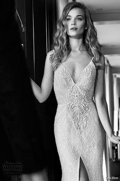 lihi hod wedding dresses 2015 bridal spagetti strap v plunging neckline lace high slit sheath gown style anastacia zoom