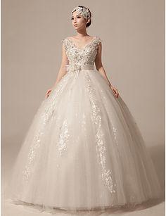 Ball Gown Floor-length Wedding Dress - Ivory V-neck Tulle – USD $ 129.99