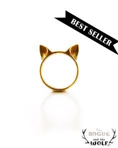 Gold Cat Ears Ring by TheRogueAndTheWolf, $49.00