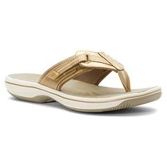 Clarks Womens Brinkley Jazz Flip Flop Casual Sandal Gold Metallic 8M US >>> You can find out more details at the link of the image.