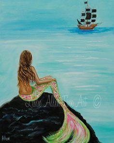 Mermaid Painting Print Mermaids Art print by LeslieAllenFineArt