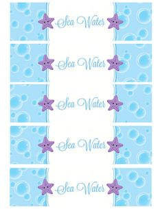 Sea Water Water Bottle labels