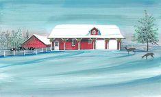 """Winter at the Farm"" 8x14"" #art #print #painting #pbuckleymoss #collectable #limitededdition #christmas #christmastime #christmastimeishere #xmas #christmasinjuly #santa #kriscringle #saintnichloas #stnicholas #stnick #stnicholas #holiday #merrychristmas #happyholidays #angel #christmastree #ornament #ornaments #garland #tinsel #garlands #christmasgift #winter #snow #deer #barn #house #farm #fence"
