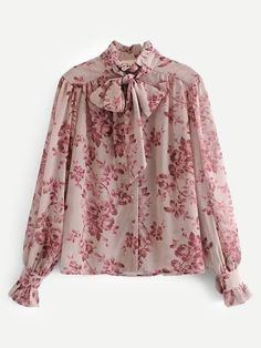 Vadim sweet ruffles floral loose chiffon blouse bow tie collar long sleeve see through shirts female chic tops blusas Blouse Styles, Blouse Designs, Fashion Outfits, Womens Fashion, Fashion Trends, Fashion Coat, Mode Hijab, Printed Blouse, Floral Blouse