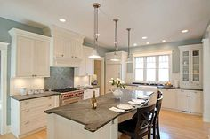 blue gray walls and soapstone counters