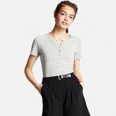 Women's Supima(R) Cotton Short Sleeve Henley Neck T-Shirt