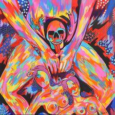 Dit is een: Acrylverf op doek, titel: 'Incognito' kunstwerk vervaardigd door: Zippora Meijer