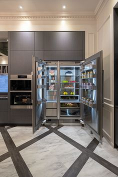 We were honored to be a part of the 2019 Architectural Digest Design Show! Dacor showcased its line of performance-grade refrigerators at the event. Dacor offers an innovative selection of column, side-by-side, french door, and porcelain refrigerators. Kitchen Room Design, Luxury Kitchen Design, Dream Home Design, Luxury Kitchens, Home Decor Kitchen, Interior Design Kitchen, Kitchen Furniture, Home Kitchens, House Design