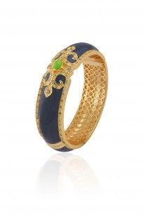 Gold Plated Navy Blue Enamel Chantilly Vintage Bangle #jewellery #bohemian #designer #shopnow #happyshopping #perniaspopupshop