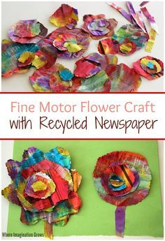 Recycled newspaper flower craft for kids! A colorful fine motor craft for preschoolers using recycled materials!
