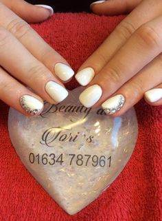 White Gelish with gems- great for wedding nails! By Tori