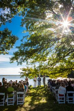 stunning outdoor Maryland wedding ceremony. From Erika & Dave's offbeat, outdoors Maryland wedding at Woodlawn Farm with sunflowers! Images by Andrew Morrell Photography.