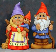 Bertie & Gertie Garden Gnome Couple - Paintable Ceramic Figurines