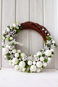 Czyli co mi w duszy gra. Noel Christmas, Winter Christmas, 242, Christmas Crafts, Christmas Ornaments, Diy Wreath, Tulle Wreath, White Wreath, Burlap Wreaths