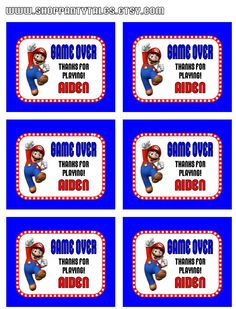 Super Mario Bros wii Birthday Boy Party Printable GAME OVER Thank you favor tags  by PartyTales. $5.00, via Etsy.